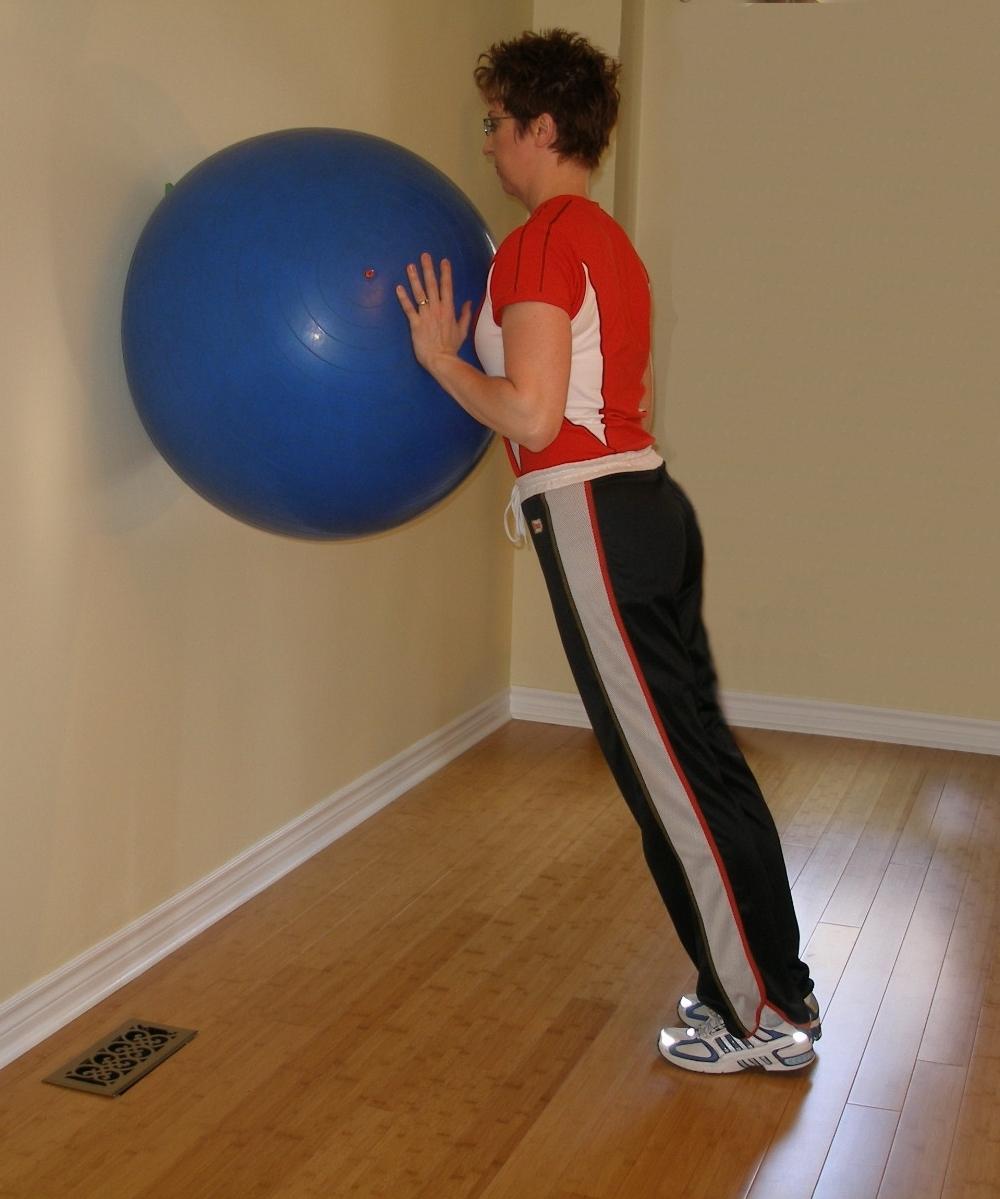 calf raise using the exercise ball starting position