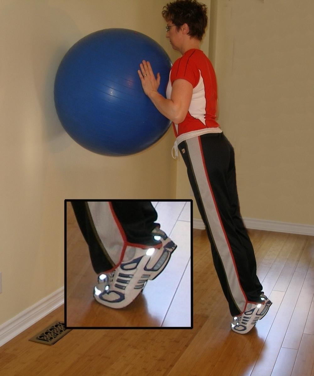 calf raise with the stability ball finish