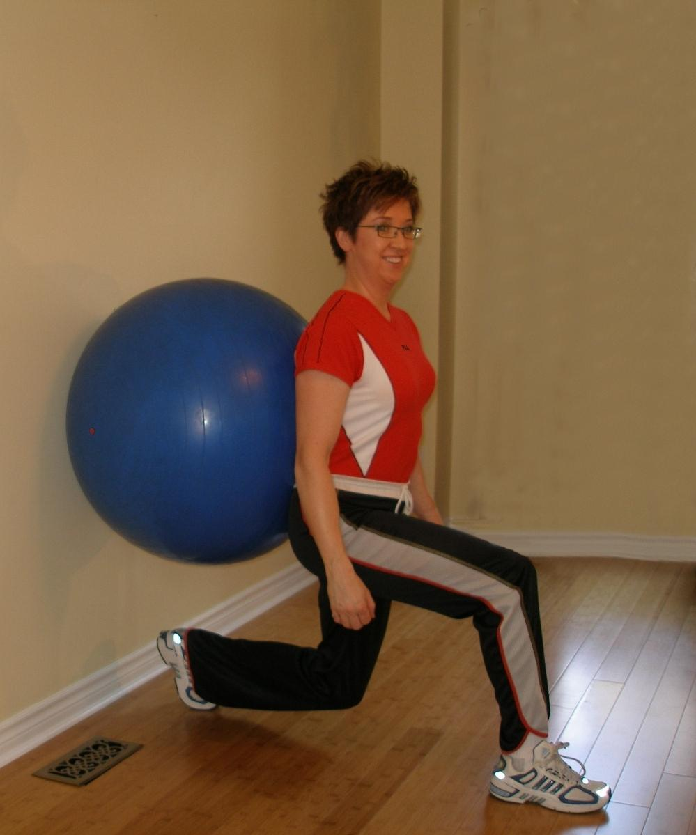 exercise ball lunge