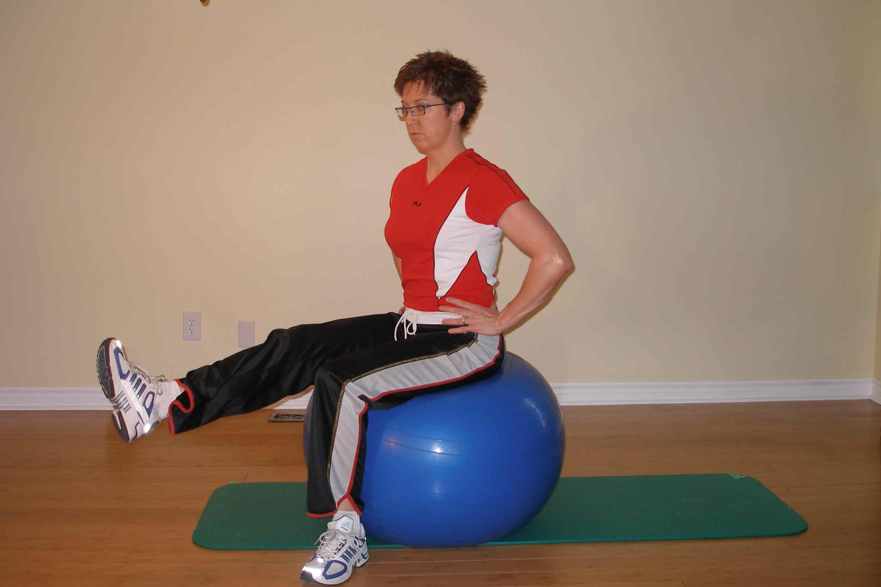 Exercise Ball Seated Leg Raise (hands on hips)