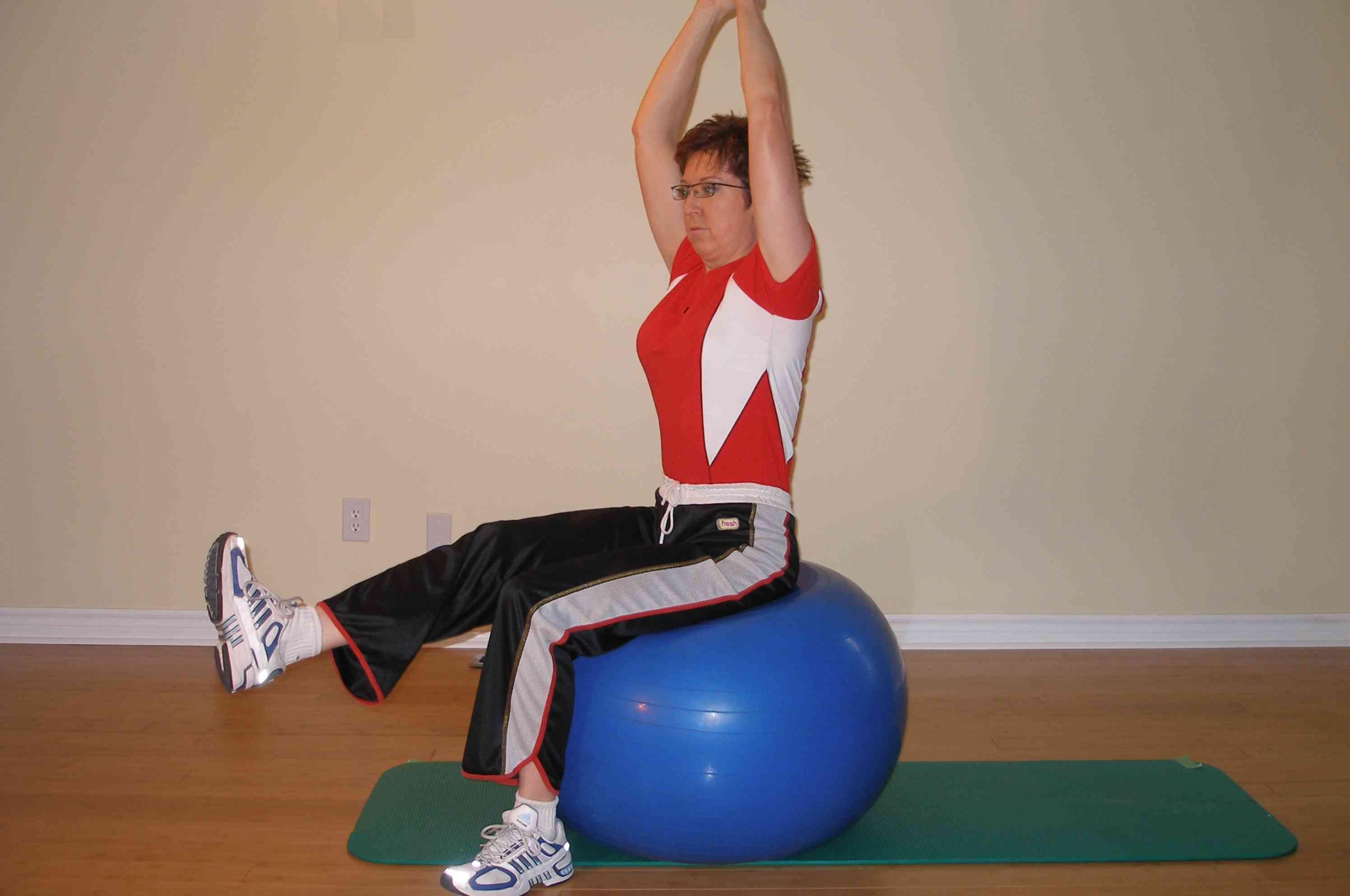 single leg raise ball exercise finish