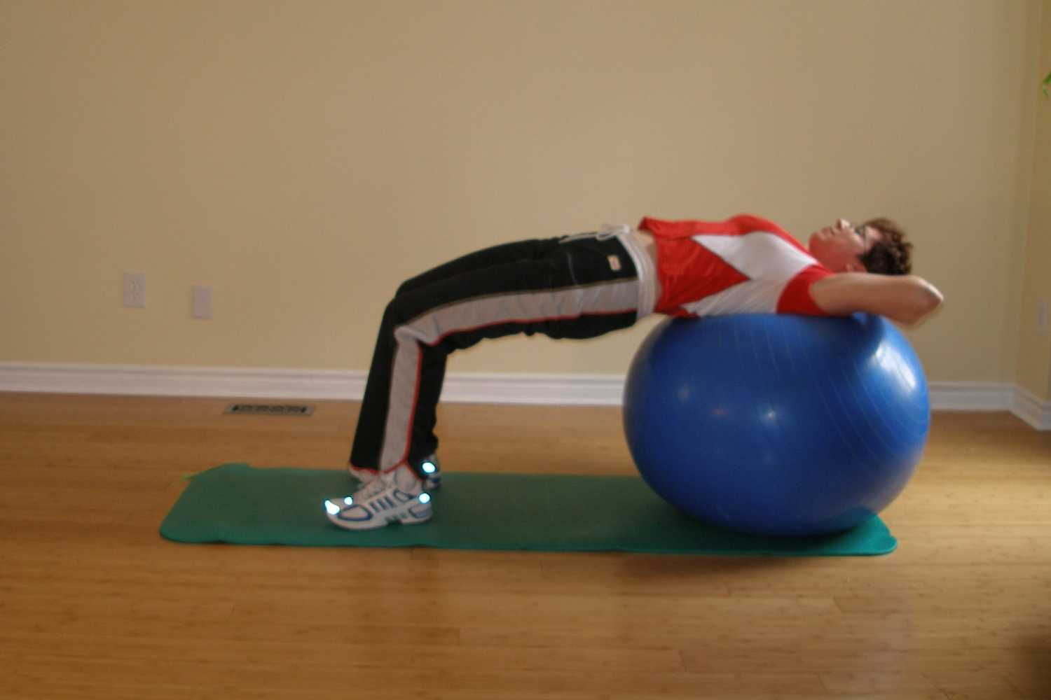 exercise ball reverse bridge position