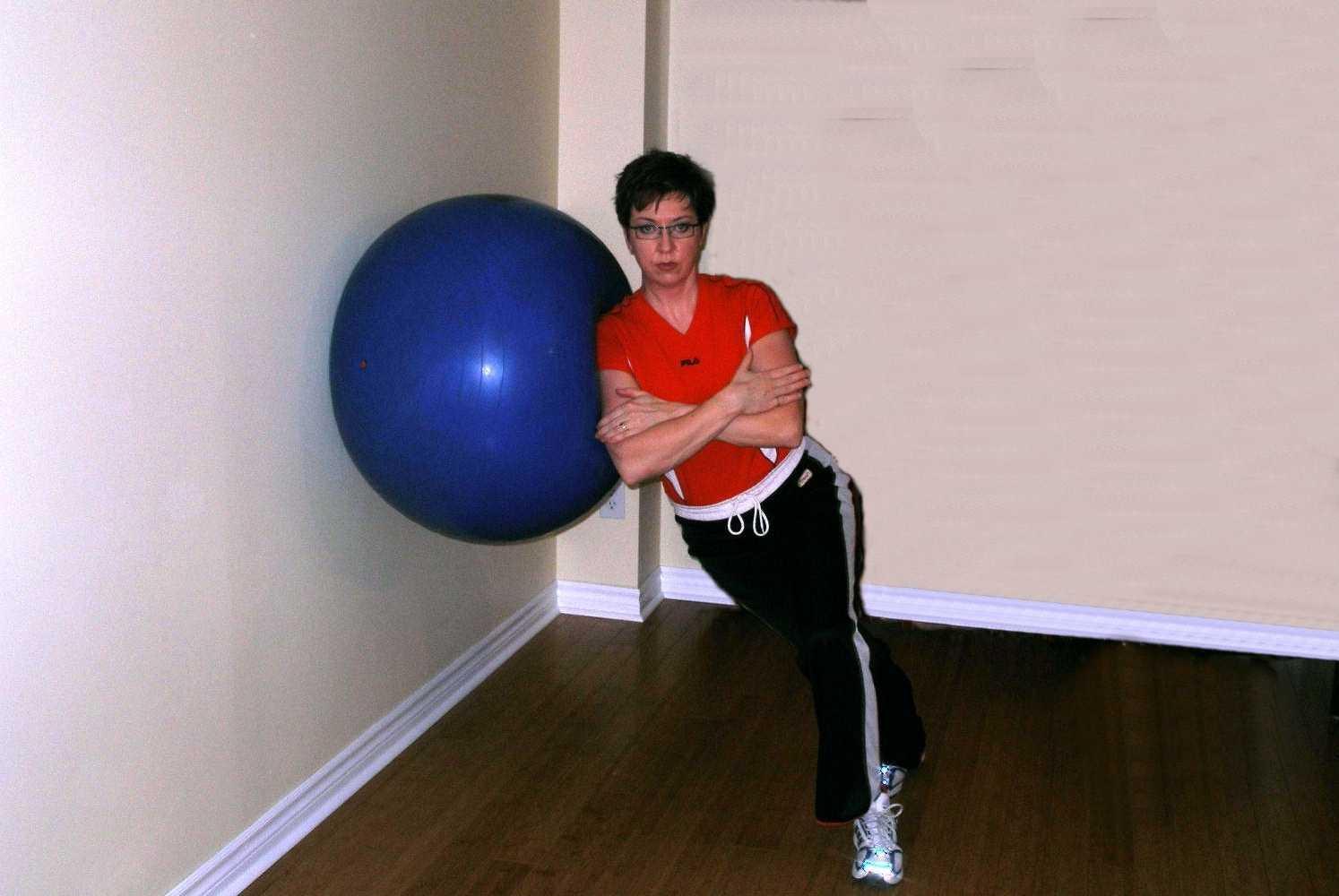 exercise ball side squat finish
