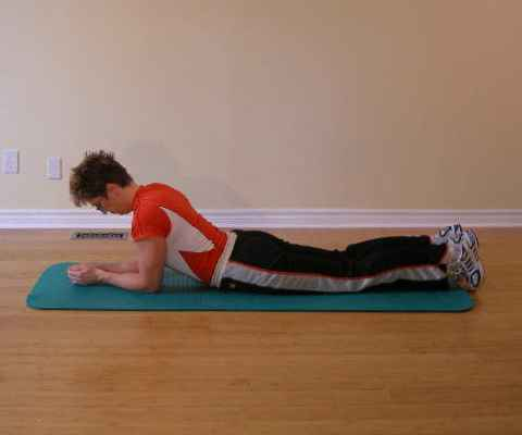 Plank exercise starting position