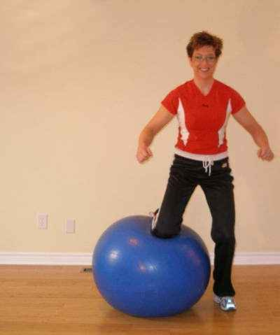 exercise ball side jump position 1