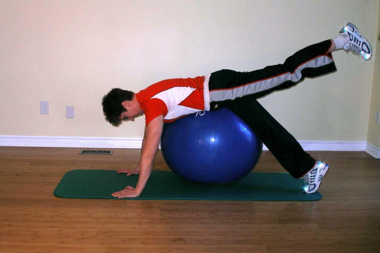 kicks on the exercise ball