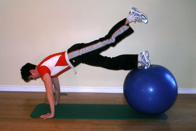 slingle leg ball plank