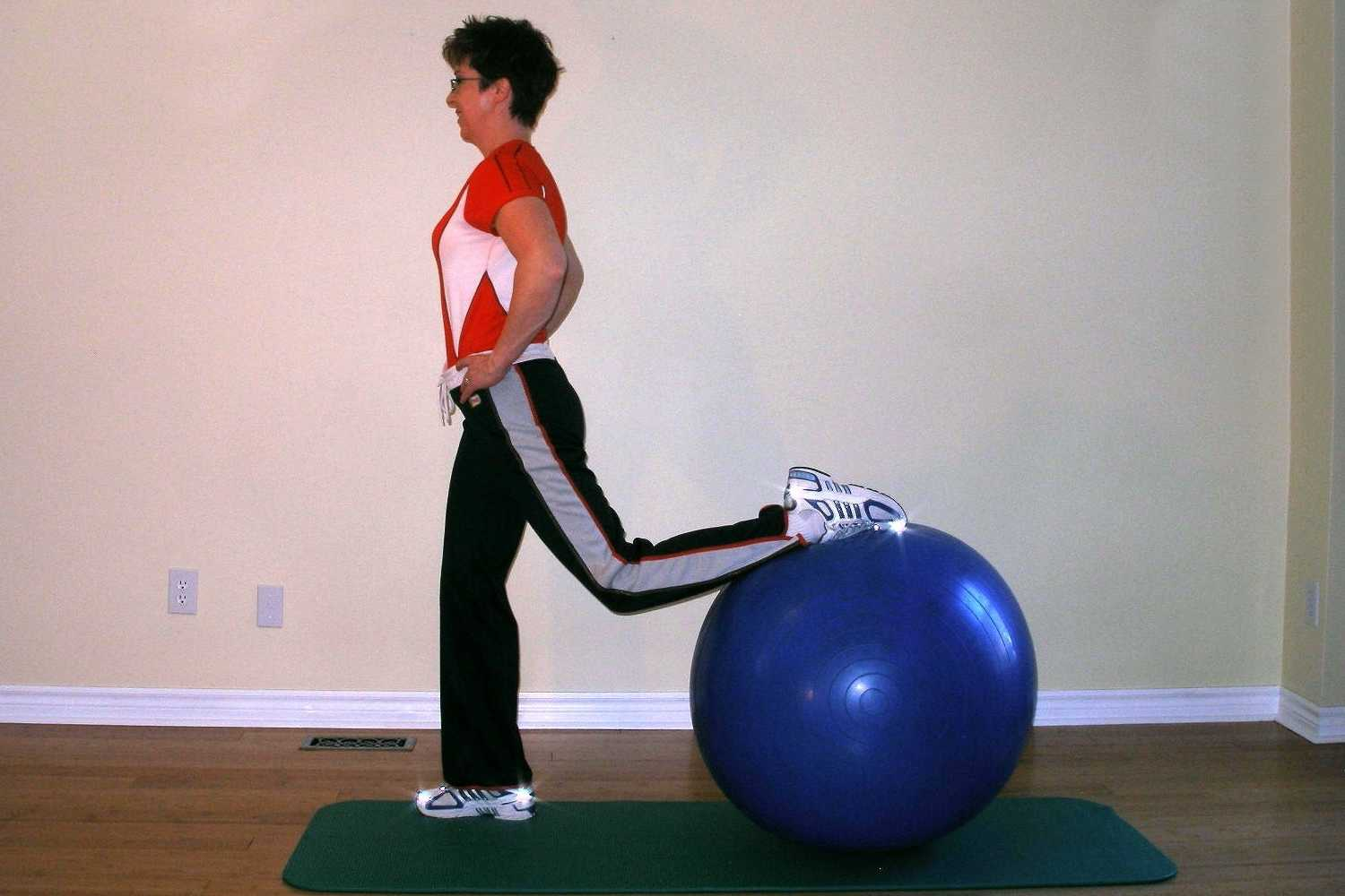 lunge exercise using a ball start
