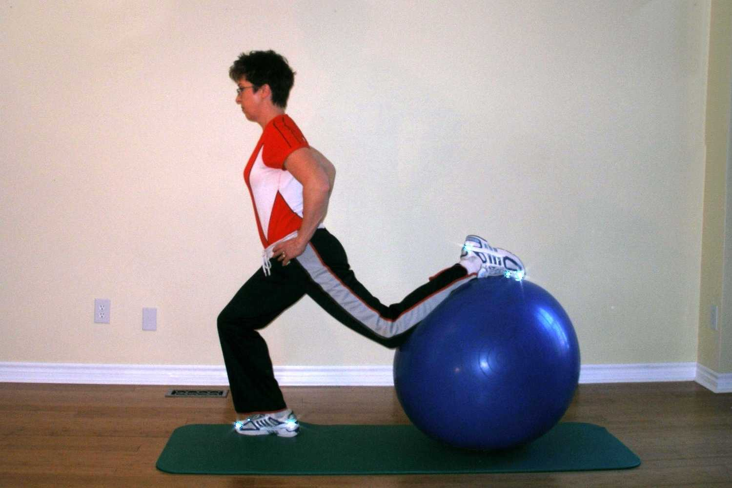 lunge exercise with a ball finish