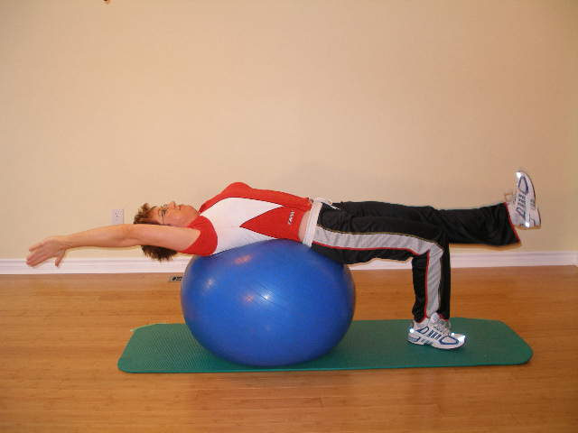 alternate arm leg raise ball exercise 2