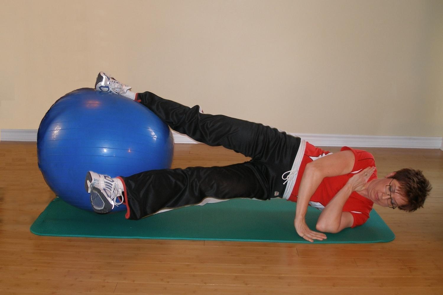 hip adduction on exercise ball finish
