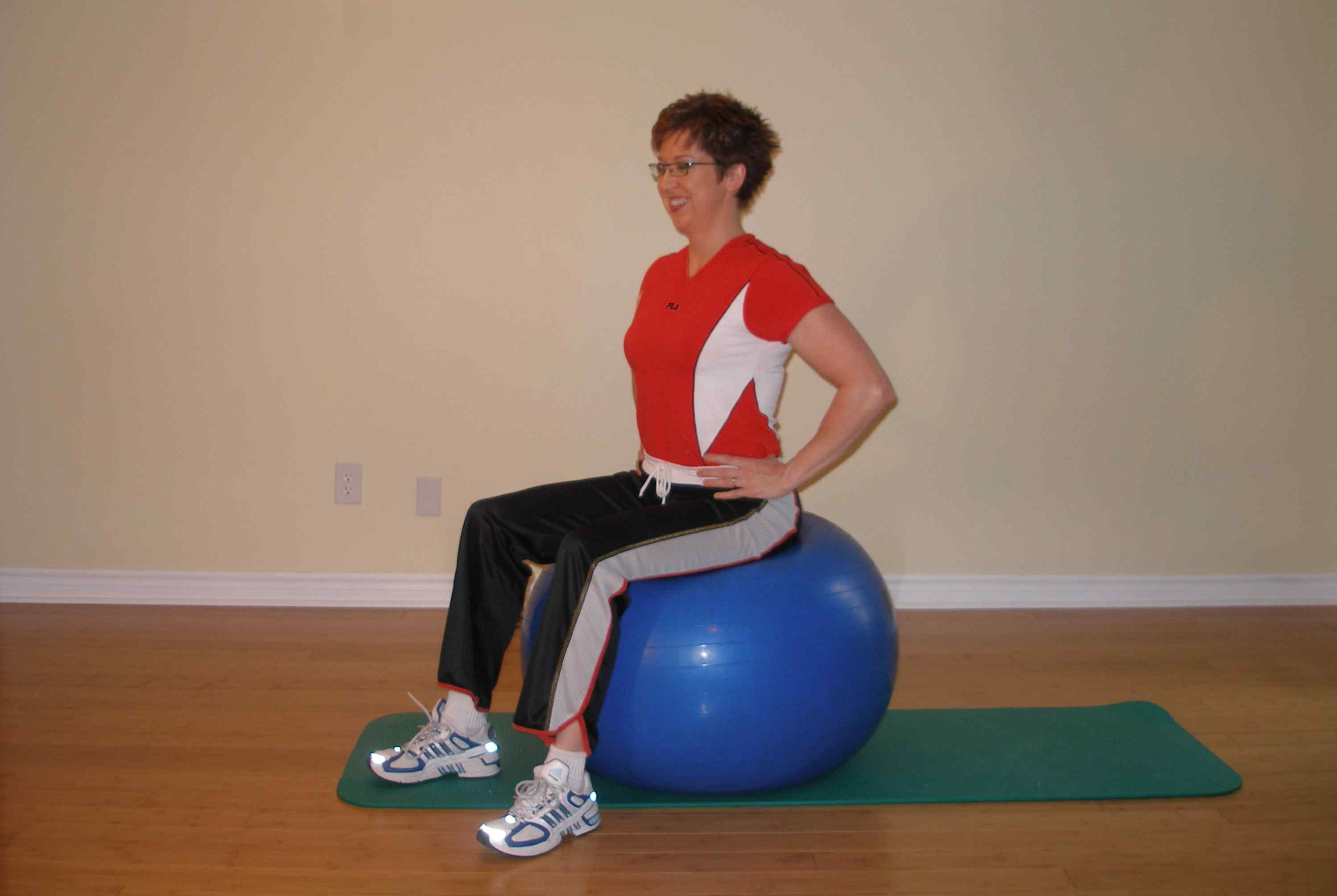 Seated leg raise on the exercise ball start
