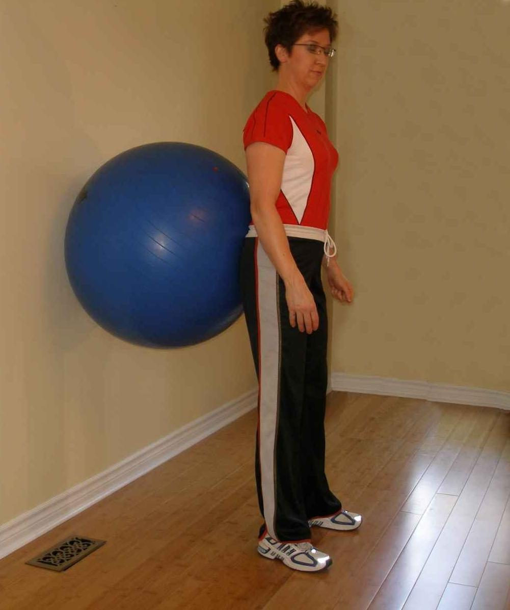 squat with the exercise ball starting position