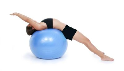 Mid back exercise ball stretch